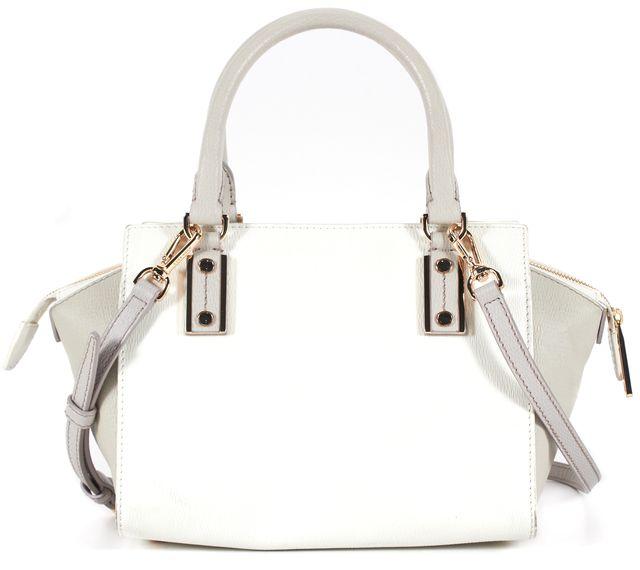 BOSS HUGO BOSS White Gray Textured Leather Gold Hardware Satchel