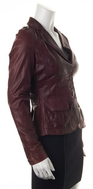 BOSS HUGO BOSS Red 100% Leather Button Down Basic Jacket