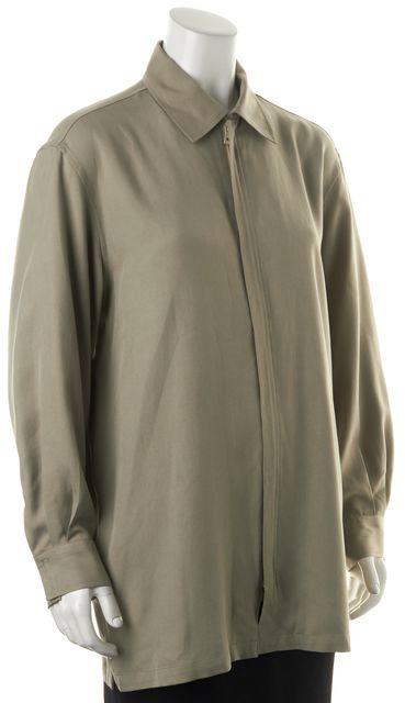 BOSS HUGO BOSS Olive Green Silk Windbreaker Jacket