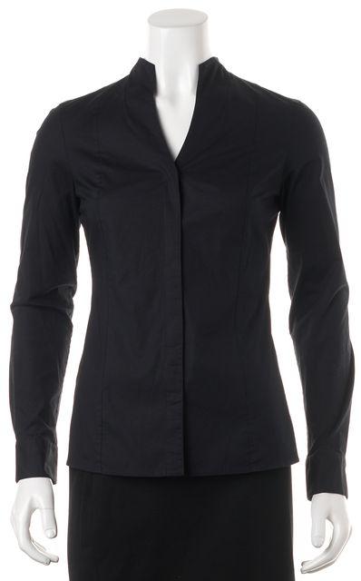 BOSS HUGO BOSS Navy Blue Collarless Button Down V-Neck Shirt Top