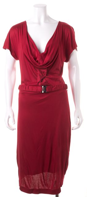BOSS HUGO BOSS Red Cowl Neck Belted Knee-Length Sheath Dress