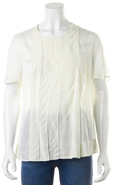 BOSS HUGO BOSS Ivory Pleated Relaxed Fit Over Sized Sheer Silk Blouse Top