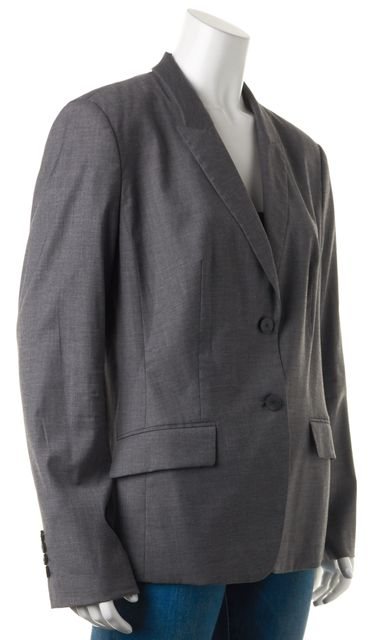 BOSS HUGO BOSS Gray Wool Double Button Pocket Front Jadena Blazer