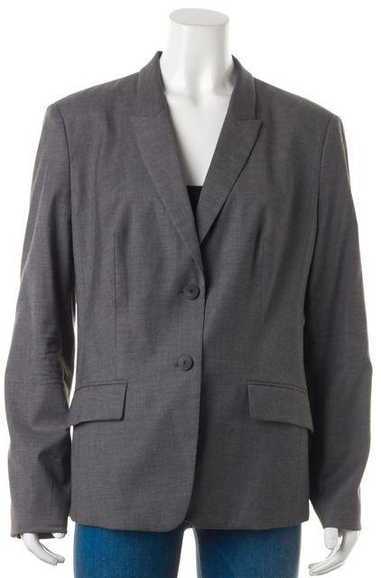 BOSS HUGO BOSS Gray Wool Double Button Pocket Front Jadena Blazer
