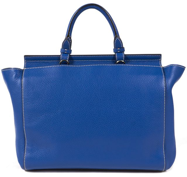 BOSS HUGO BOSS Cobalt Blue Pebbled Leather Bespoke Soft M Satchel