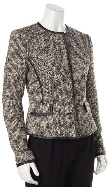 BOSS HUGO BOSS Beige Black Tweed Wool Jasila Basic Jacket