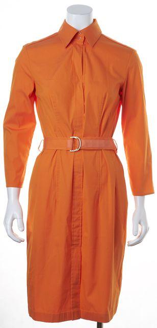 BOSS HUGO BOSS Orange Long Sleeve Removable Belt Cotton Shirt Dress