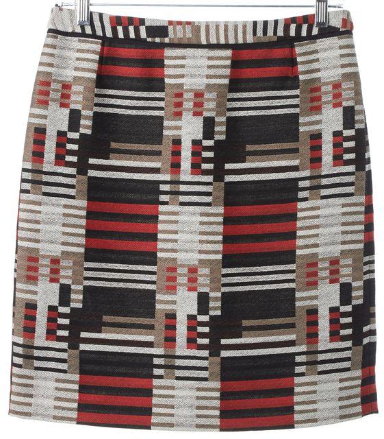 BOSS HUGO BOSS Beige Red Black Geometric Maluka Pencil Skirt