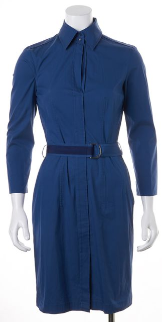 BOSS HUGO BOSS Blue Belted Long Sleeve Knee-Length Shirt Dress