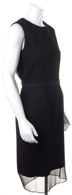 BOSS HUGO BOSS Black Pleated Mesh Sleeveless Belted Pencil Sheath Dress