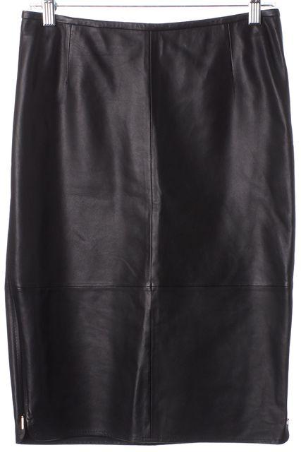BOSS HUGO BOSS Black Leather Knee-Length Sedora Pencil Skirt