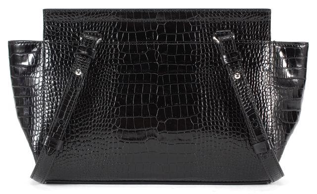 BOSS HUGO BOSS Black Reptile Embossed Leather Crossbody Bag