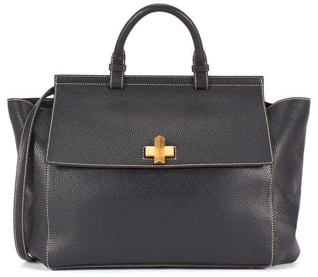 BOSS HUGO BOSS Black White Contrast Stitch Pebbled Leather Satchel