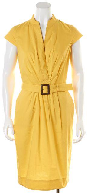 BOSS HUGO BOSS Yellow Cotton Cap Sleeve Belted Pleated Sheath Dress