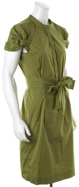 BOSS HUGO BOSS Olive Green Stretch Cotton Belted Shirt Sheath Dress