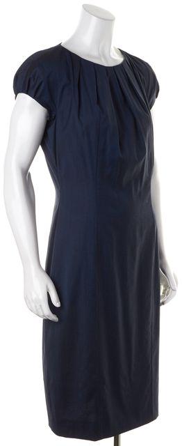 BOSS HUGO BOSS Blue Wool Cap Sleeves Pleated Sheath Dress