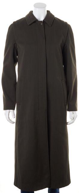 BOSS HUGO BOSS Military Green Wool Blend Basic Long Coat