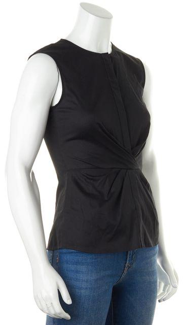 BOSS HUGO BOSS Solid Black Sleeveless Wrap Effect Blouse