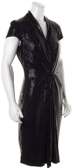 BOSS HUGO BOSS Black Sequin V-Neck Draped Dinola Sheath Dress