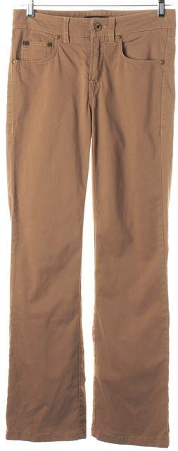 BOSS HUGO BOSS Pale Brown Mid-Rise Straight Leg Trouser Pants