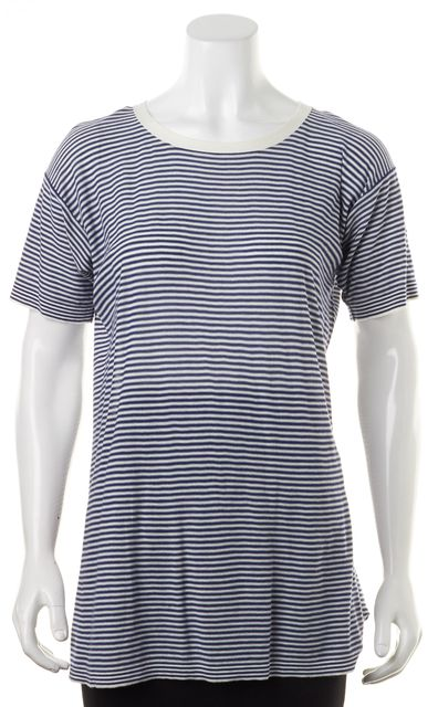 BOSS HUGO BOSS Blue White Striped Cotton Short Sleeve T-Shirt