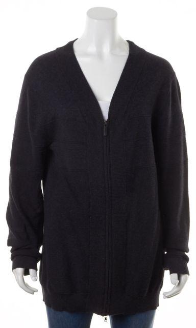 BOSS HUGO BOSS Black Cotton Cashmere Slim Fit Zip Up Knit Cardigan Sweater