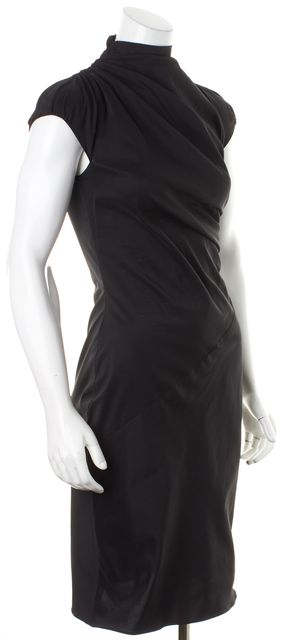 BOSS HUGO BOSS Black Cap Sleeve Mock Neck Ruched Sheath Dress