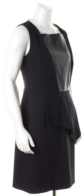 BOSS HUGO BOSS Black Virgil Wool Faux Leather Panel Dallena Sheath Dress