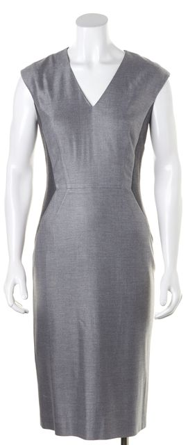 BOSS HUGO BOSS Gray Contrast Panels Sleeveless V-Neck Sheath Dress