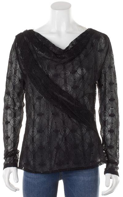 BOSS HUGO BOSS Black Crochet Lace Draped Front Ilaha Blouse Top