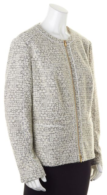 BOSS HUGO BOSS White Gray Tweed Koralie Basic Zip Up Jacket