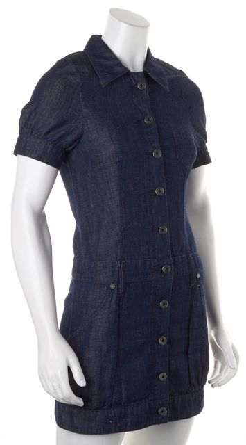BOSS HUGO BOSS Blue Cotton Linen Denim Button Down Shirt Dress