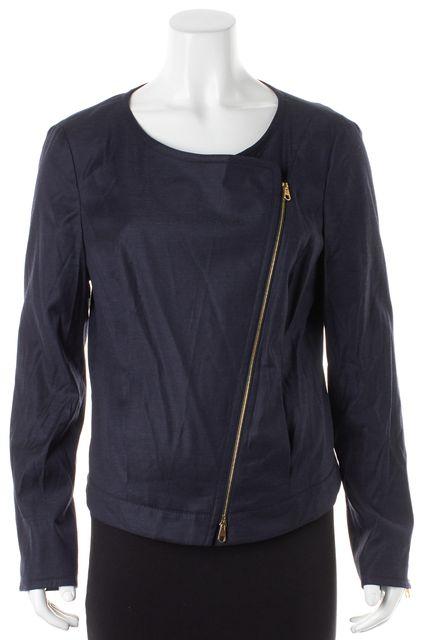 BOSS HUGO BOSS Navy Blue Wool Gold Contrast Zip Jatrice Moto Jacket