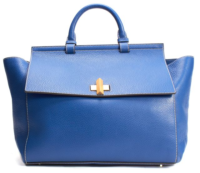 BOSS HUGO BOSS Blue Grained Leather Gold-Tone Hardware Satchel Bag