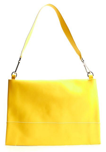 BOSS HUGO BOSS Yellow Leather White Trim Runway Edition Shoulder Bag