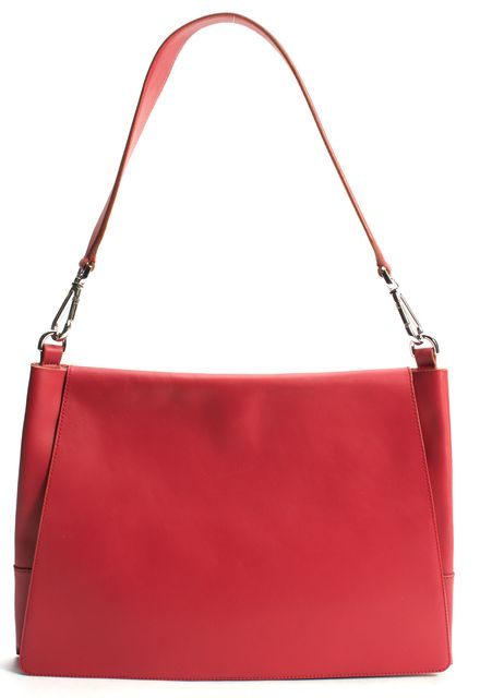 BOSS HUGO BOSS Red Leather Brown Trim Runway Edition Shoulder Bag