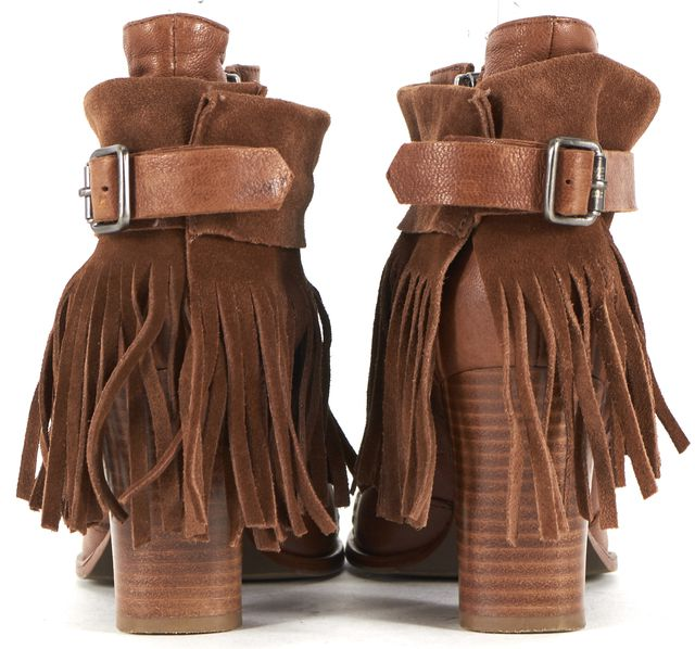 BOSS HUGO BOSS Brown Leather Detachable Fringe Ankle Boots