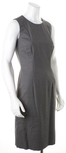 BOSS HUGO BOSS Gray Chevron Wool Knit Sleeveless Dirusa Sheath Dress