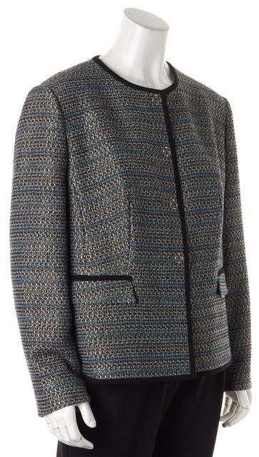 BOSS HUGO BOSS Blue Gold Black Snap Front Jotila Basic Jacket