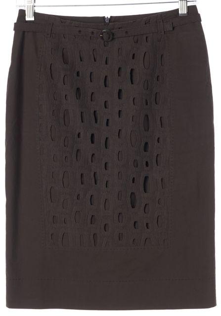BOSS HUGO BOSS Brown Eyelet Overlay Verala Belted Straight Skirt