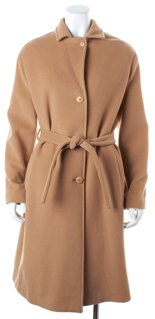 BOSS HUGO BOSS Beige Virgin Wool Belted Button Front Coat