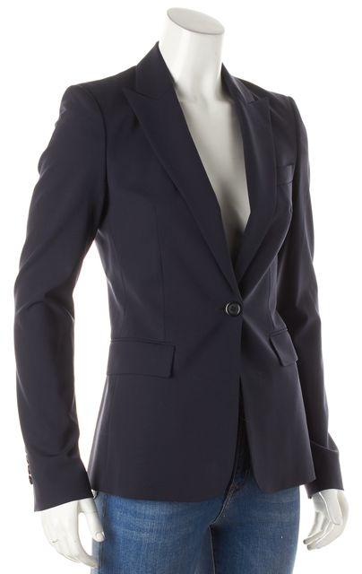 BOSS HUGO BOSS Navy Blue Wool One Button Blazer Jacket