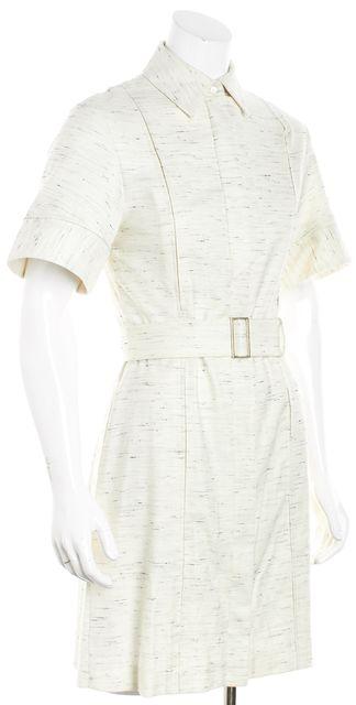 BOSS HUGO BOSS White Cream Marled Belted Button Down Shirt Dress