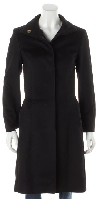BOSS HUGO BOSS Black Wool Funnel Collar Basic Coat