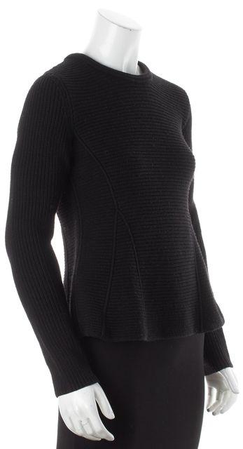 BOSS HUGO BOSS Black Wool Ribbed Knit Peplum Style Crewneck Sweater