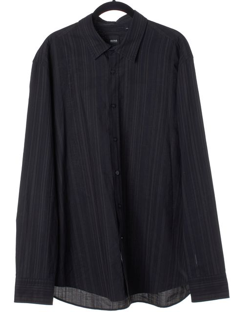 BOSS HUGO BOSS Black Striped Button Down Shirt Blouse