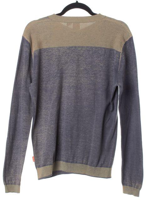 BOSS HUGO BOSS Gray & Beige Crewneck Long Sleeve Sweater