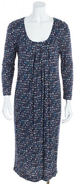 BOSS HUGO BOSS Blue Multi Abstract Printed Jersey Scoop Neck Sheath Dress