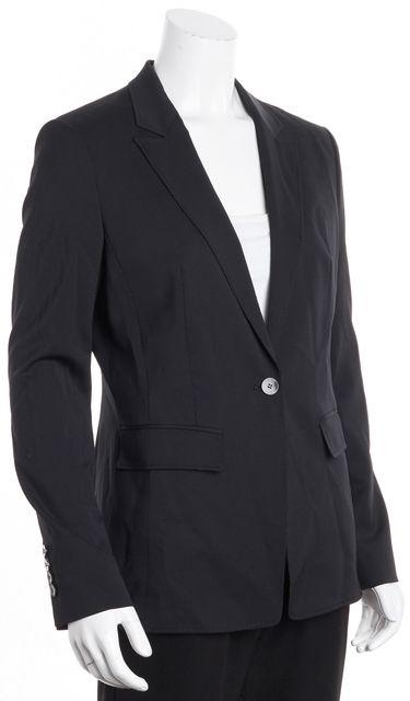 BOSS HUGO BOSS Black Gray Pent Striped One Button Front Wool Blazer