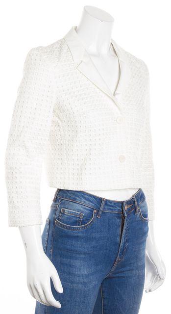 BOSS HUGO BOSS White Crotchet Long Sleeve Cropped Jacket